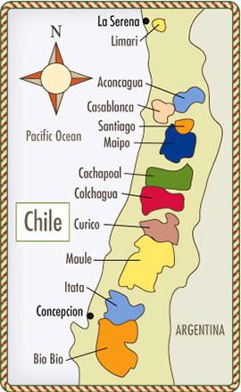 bản đồ phân bố vùng trồng nho tại Chile